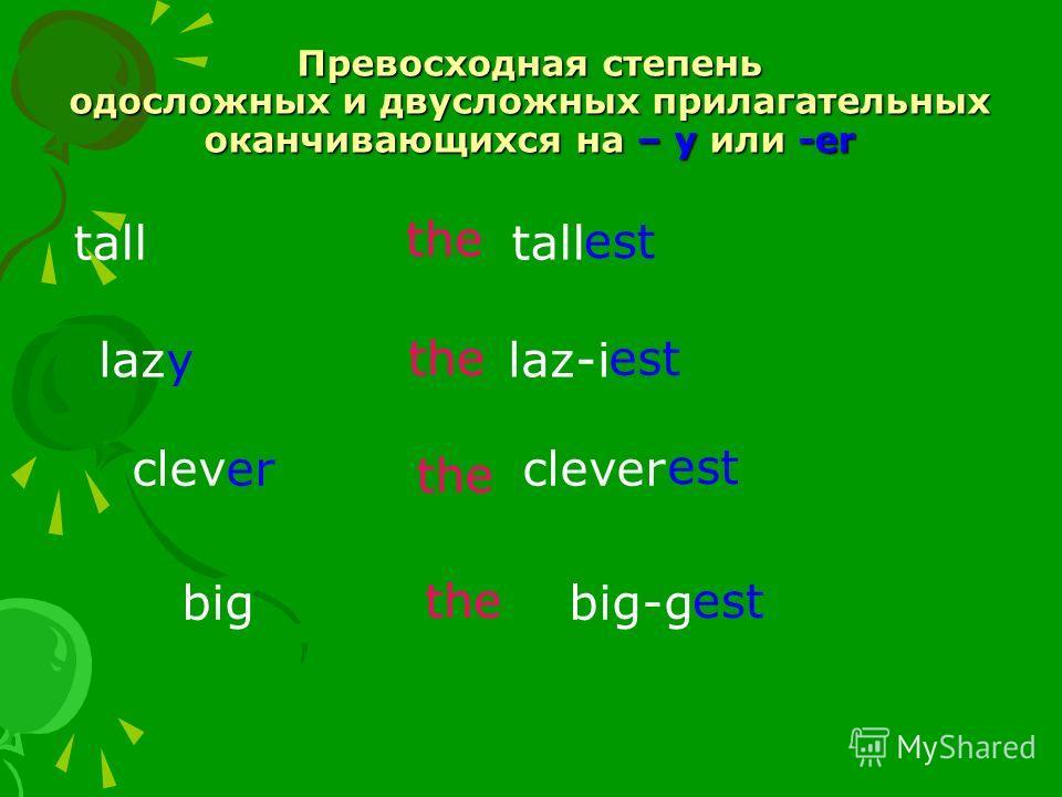Превосходная степень одосложных и двусложных прилагательных оканчивающихся на – y или -er tall lazy laz-i clever big big-g the est theest the est theest
