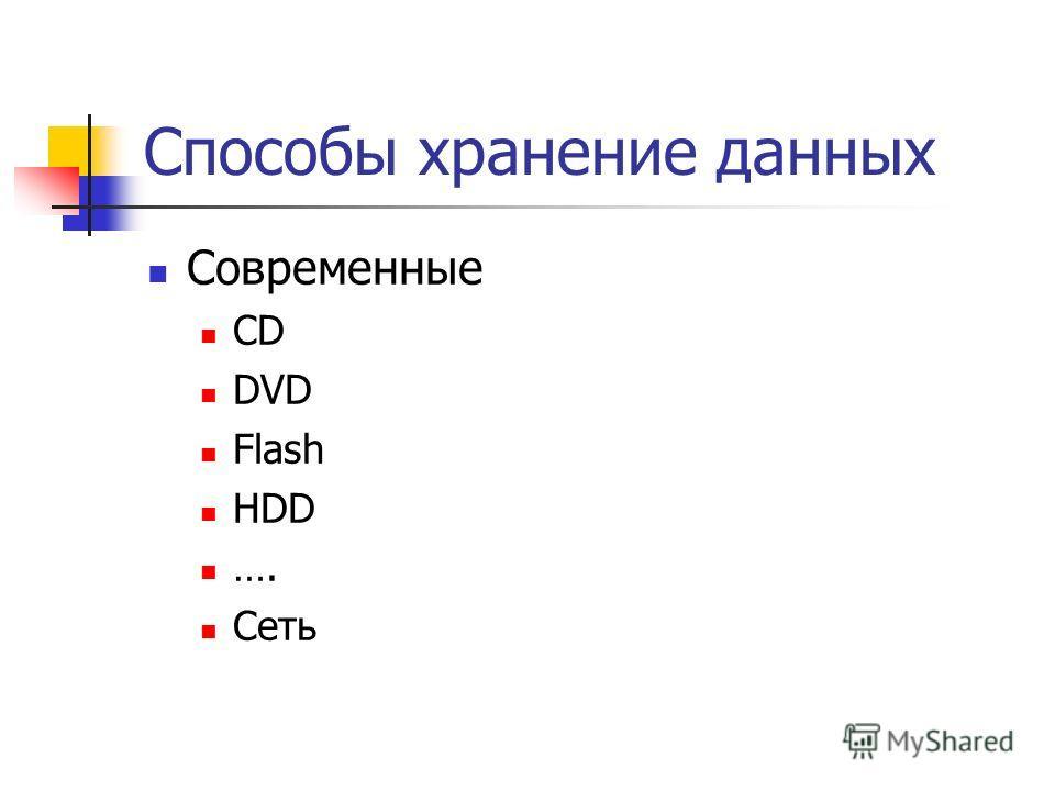 Способы хранение данных Современные CD DVD Flash HDD …. Сеть