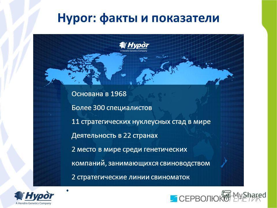 Hypor Hypor: факты и показатели Основана в 1968 Более 300 специалистов 11 стратегических нуклеусных стад в мире Деятельность в 22 странах 2 место в мире среди генетических компаний, занимающихся свиноводством 2 стратегические линии свиноматок 2 strat