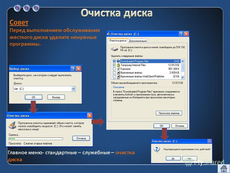 Совет Перед выполнением обслуживания жесткого диска удалите ненужные программы. Главное меню - стандартные – служебные – очистка диска