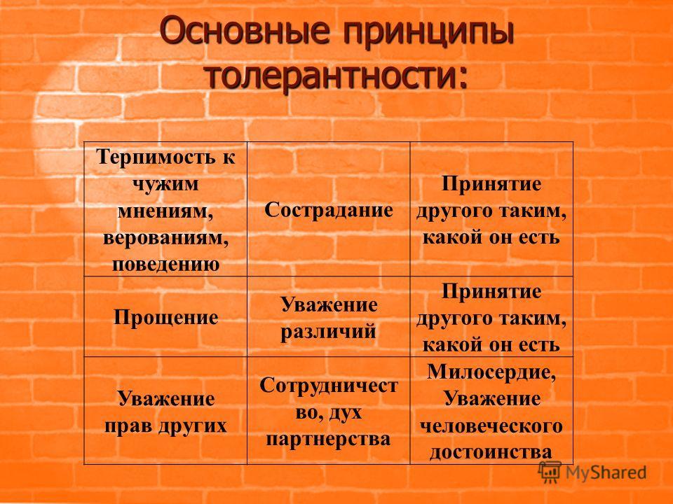 Основные принципы толерантности: Терпимость к чужим мнениям, верованиям, поведению Сострадание Принятие другого таким, какой он есть Прощение Уважение различий Принятие другого таким, какой он есть Уважение прав других Сотрудничест во, дух партнерств