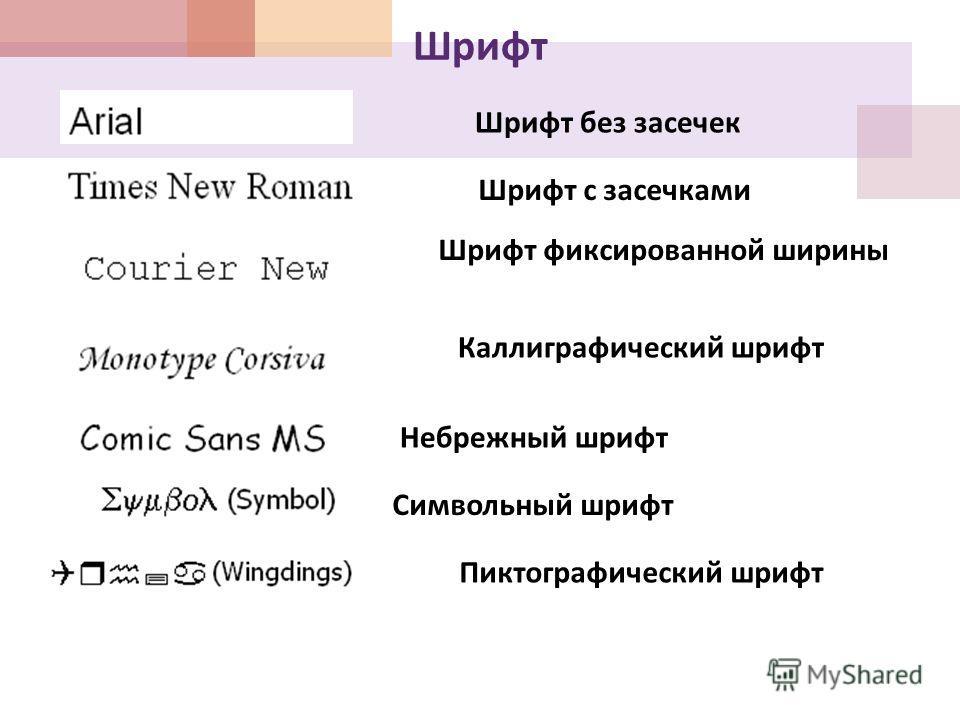 Шрифт Шрифт без засечек Шрифт с засечками Шрифт фиксированной ширины Каллиграфический шрифт Небрежный шрифт Символьный шрифт Пиктографический шрифт
