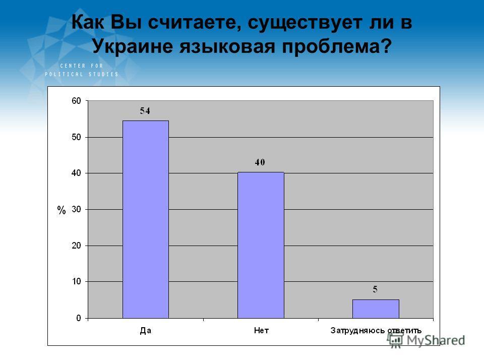 Как Вы считаете, существует ли в Украине языковая проблема?