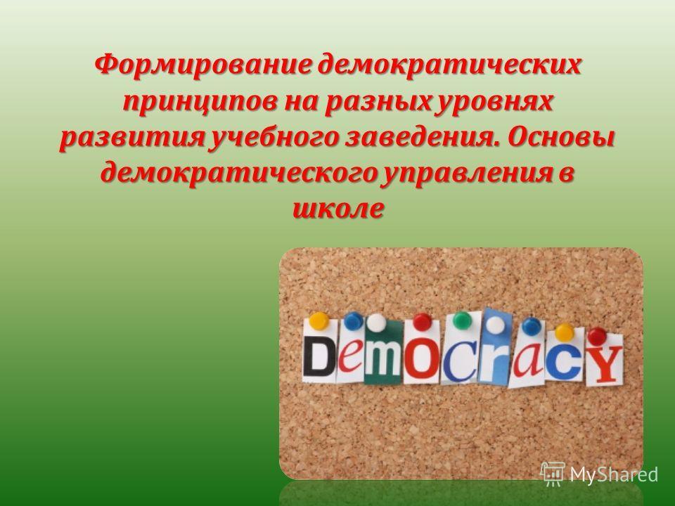 Формирование демократических принципов на разных уровнях развития учебного заведения. Основы демократического управления в школе
