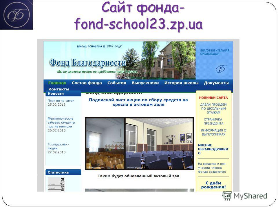 Сайт фонда- fond-school23.zp.ua