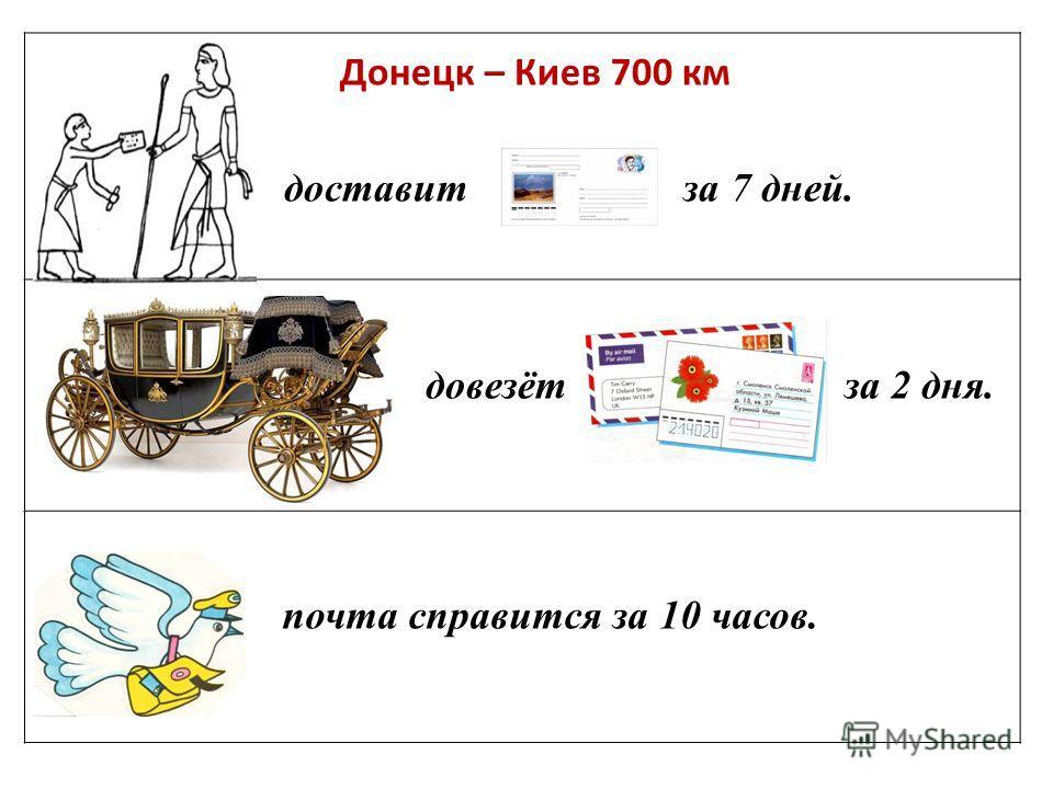 доставит за 7 дней. довезёт за 2 дня. почта справится за 10 часов. Донецк – Киев 700 км
