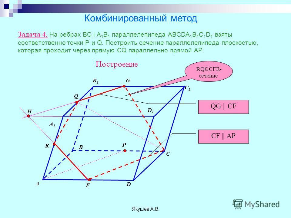 Якушев А.В. Задача 4. На ребрах ВС і А 1 В 1 параллелепипеда ABCDA 1 B 1 C 1 D 1 взяты соответственно точки Р и Q. Построить сечение параллелепипеда плоскостью, которая проходит через прямую CQ параллельно прямой АP. A B C D A1A1 B1B1 C1C1 D1D1 P Q П
