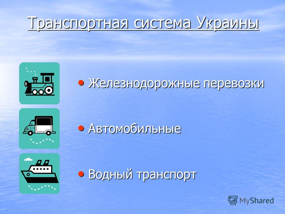 Транспортная система Украины Железнодорожные перевозки Железнодорожные перевозки Автомобильные Автомобильные Водный транспорт Водный транспорт