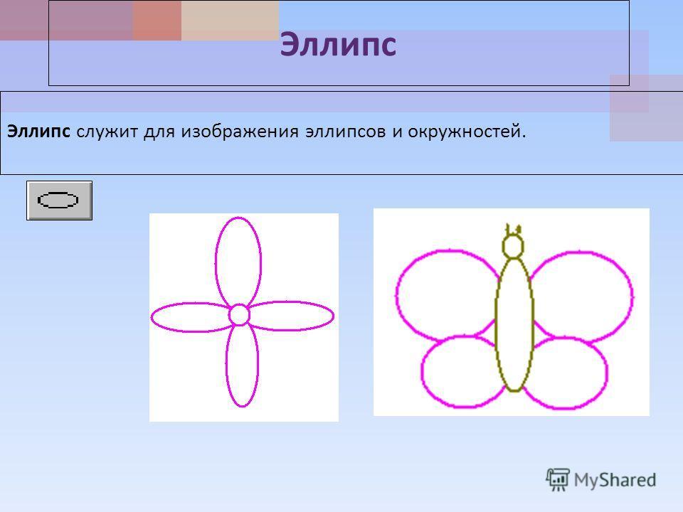Эллипс Эллипс служит для изображения эллипсов и окружностей.