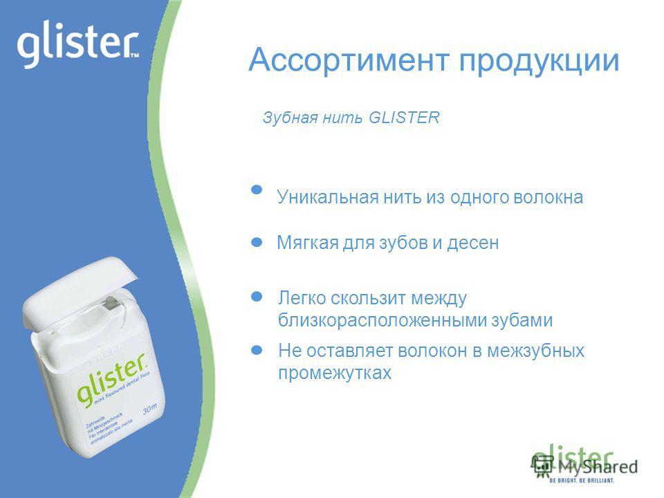 GLISTER – Be Bright, Be Brilliant Ассортимент продукции Уникальная нить из одного волокна Мягкая для зубов и десен Легко скользит между близкорасположенными зубами Не оставляет волокон в межзубных промежутках Зубная нить GLISTER