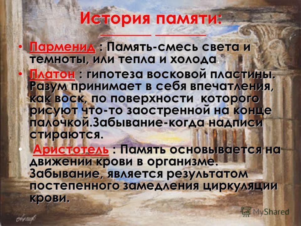 ______ ______ ______ ______ История памяти: Парменид : Память-смесь света и темноты, или тепла и холода. Парменид : Память-смесь света и темноты, или тепла и холода. Платон : гипотеза восковой пластины. Разум принимает в себя впечатления, как воск, п