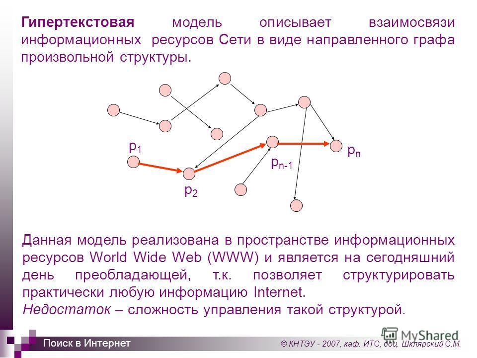 © КНТЭУ - 2007, каф. ИТС, доц. Шклярский С.М. Поиск в Интернет Гипертекстовая модель описывает взаимосвязи информационных ресурсов Сети в виде направленного графа произвольной структуры. Данная модель реализована в пространстве информационных ресурсо