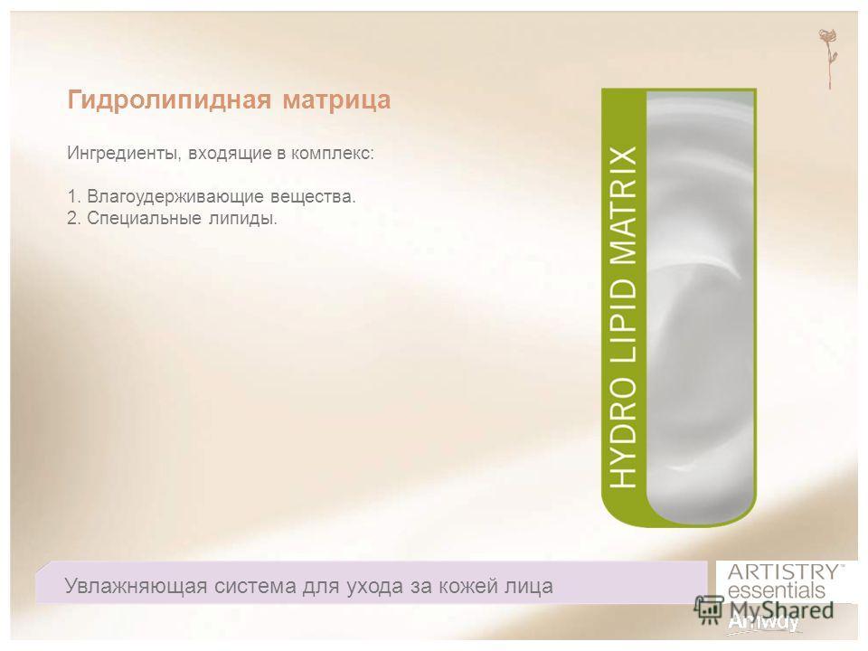 Гидролипидная матрица Ингредиенты, входящие в комплекс: 1. Влагоудерживающие вещества. 2. Специальные липиды. Увлажняющая система для ухода за кожей лица