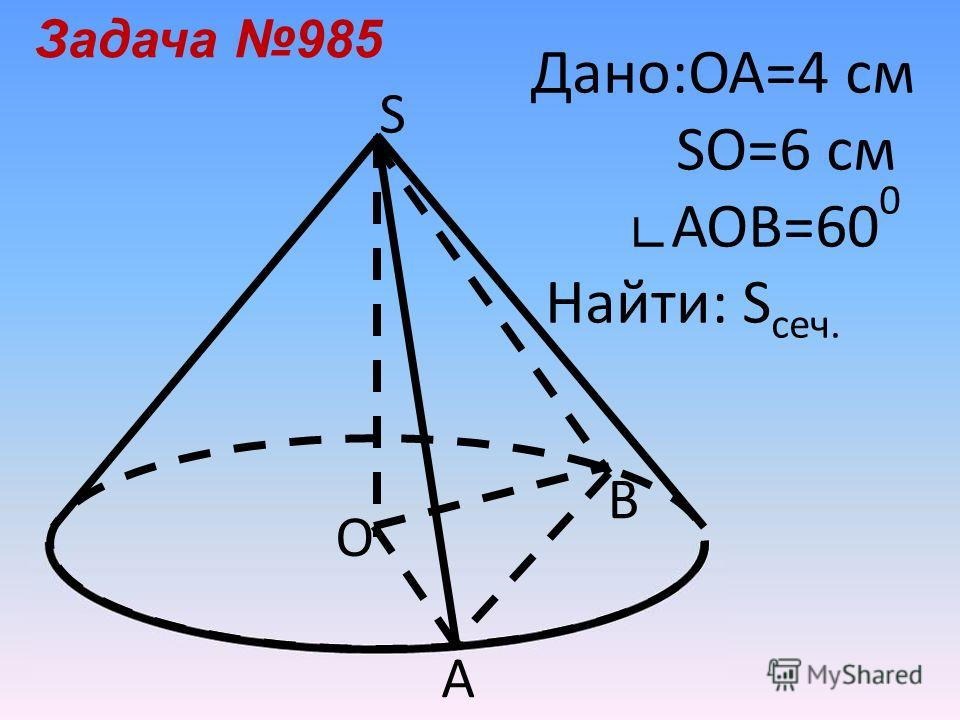 Дано:ОА=4 см SO=6 см АОВ=60 0 Найти: S сеч. Задача 985 О S В А