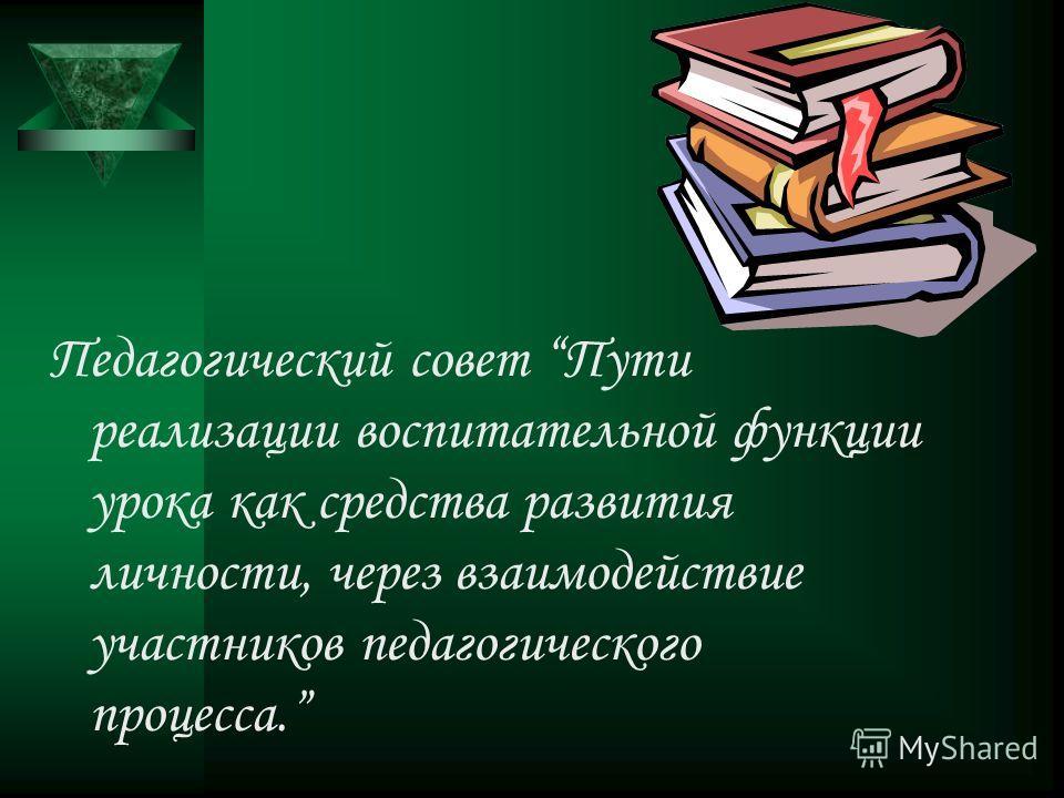 Педагогический совет Пути реализации воспитательной функции урока как средства развития личности, через взаимодействие участников педагогического процесса.