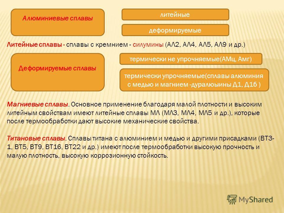 Литейные сплавы - сплавы с кремнием - силумины (АЛ2, АЛ4, АЛ5, АЛ9 и др.) Магниевые сплавы. Основное применение благодаря малой плотности и высоким литейным свойствам имеют литейные сплавы МЛ (МЛЗ, МЛ4, МЛ5 и др.), которые после термообработки дают в