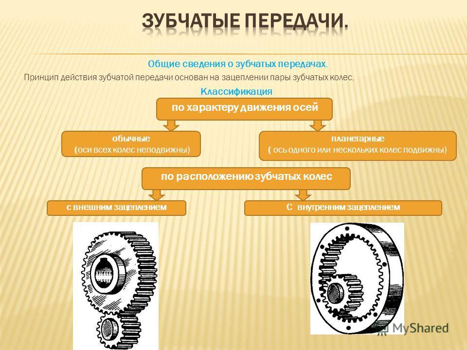 Общие сведения о зубчатых передачах. Принцип действия зубчатой передачи основан на зацеплении пары зубчатых колес. Классификация по характеру движения осей обычные (оси всех колес неподвижны) планетарные ( ось одного или нескольких колес подвижны) по