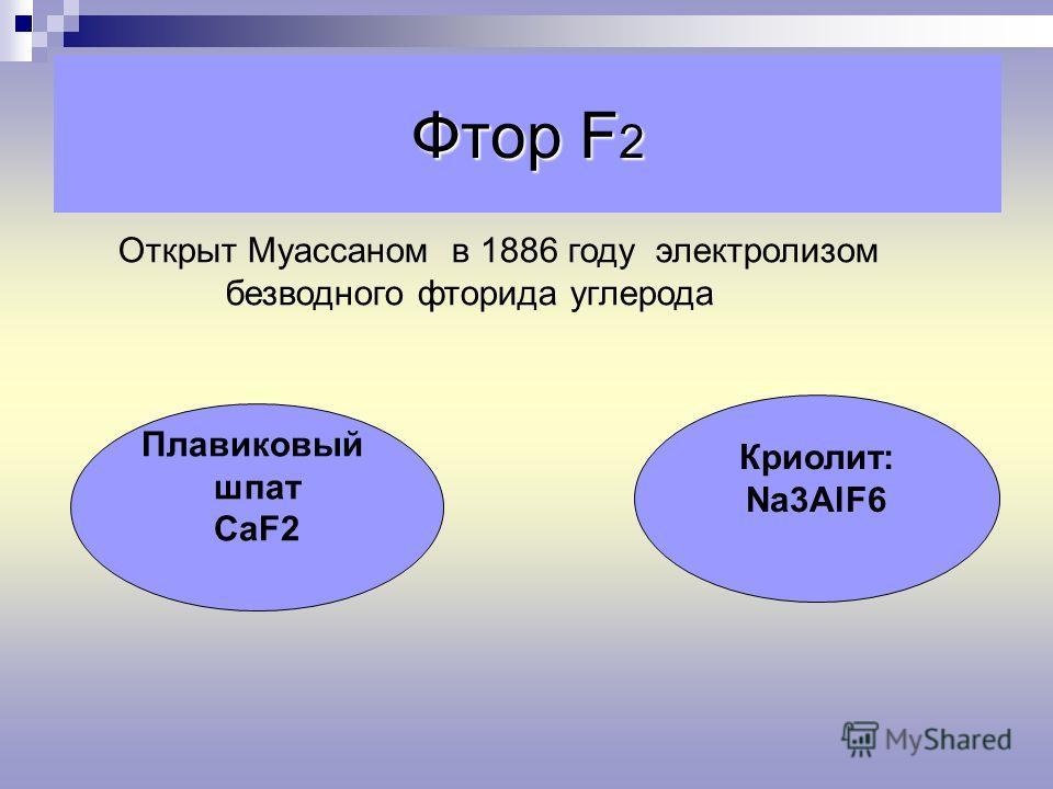 Фтор F 2 Открыт Муассаном в 1886 году электролизом безводного фторида углерода Плавиковый шпат СаF2 Криолит: Na3AlF6