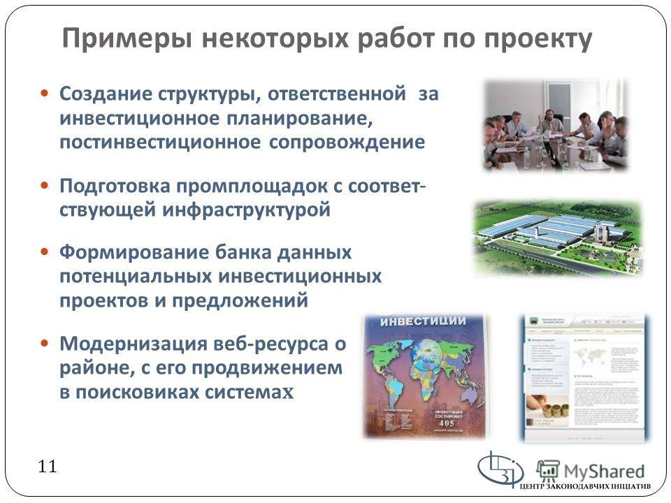Примеры некоторых работ по проекту Создание структуры, ответственной за инвестиционное планирование, постинвестиционное сопровождение Подготовка промплощадок с соответ - ствующей инфраструктурой Формирование банка данных потенциальных инвестиционных