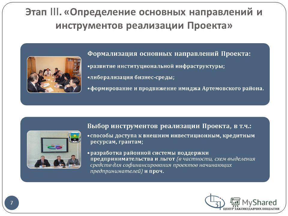 Этап III. « Определение основных направлений и инструментов реализации Проекта » 7