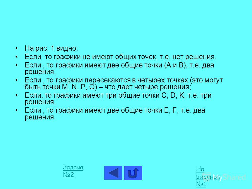 На рис. 1 видно: Если то графики не имеют общих точек, т.е. нет решения. Если, то графики имеют две общие точки (А и В), т.е. два решения. Если, то графики пересекаются в четырех точках (это могут быть точки M, N, P, Q) – что дает четыре решения; Есл