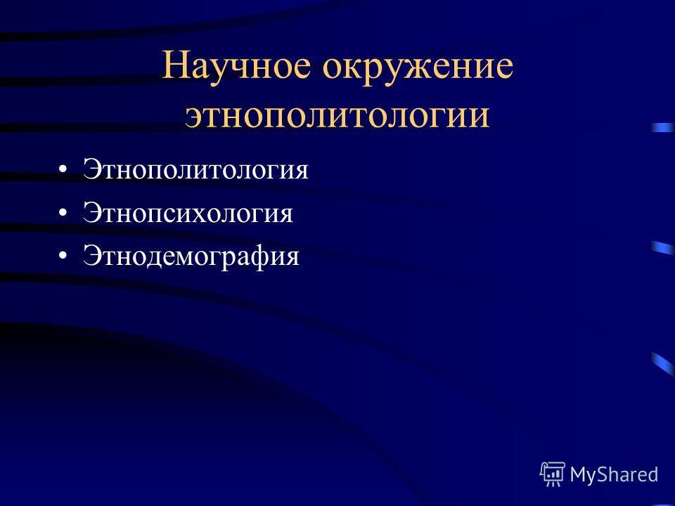 Научное окружение этнополитологии Этнополитология Этнопсихология Этнодемография