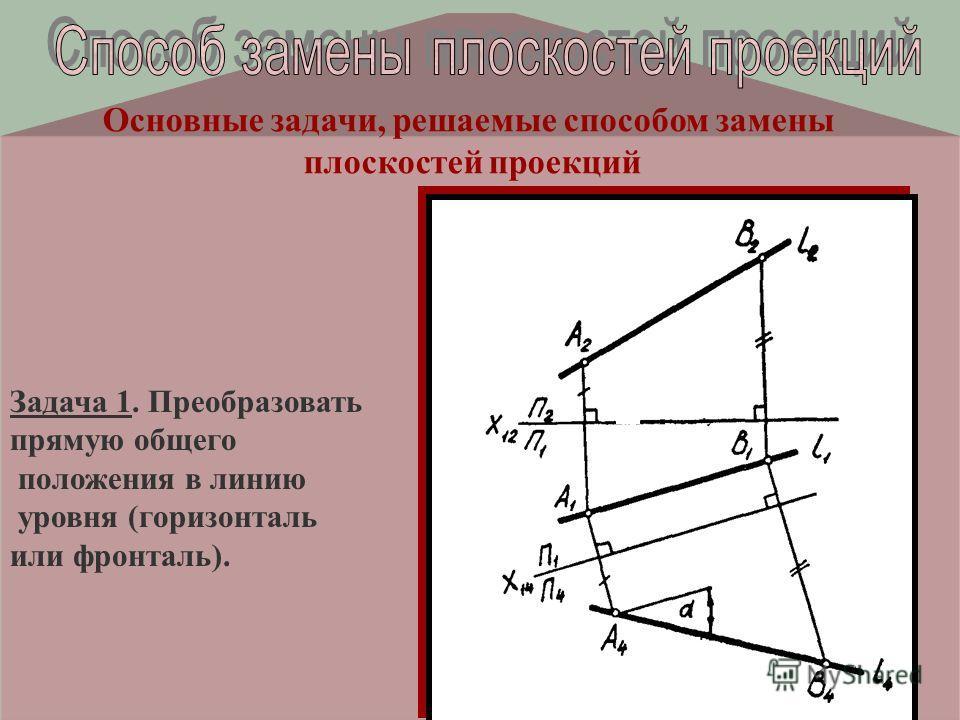 Основные задачи, решаемые способом замены плоскостей проекций Задача 1. Преобразовать прямую общего положения в линию уровня (горизонталь или фронталь).