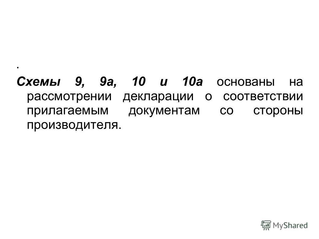 . Схемы 9, 9а, 10 и 10а основаны на рассмотрении декларации о соответствии прилагаемым документам со стороны производителя.