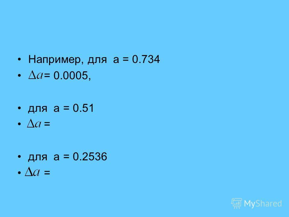 Например, для а = 0.734 = 0.0005, для а = 0.51 = для а = 0.2536 =