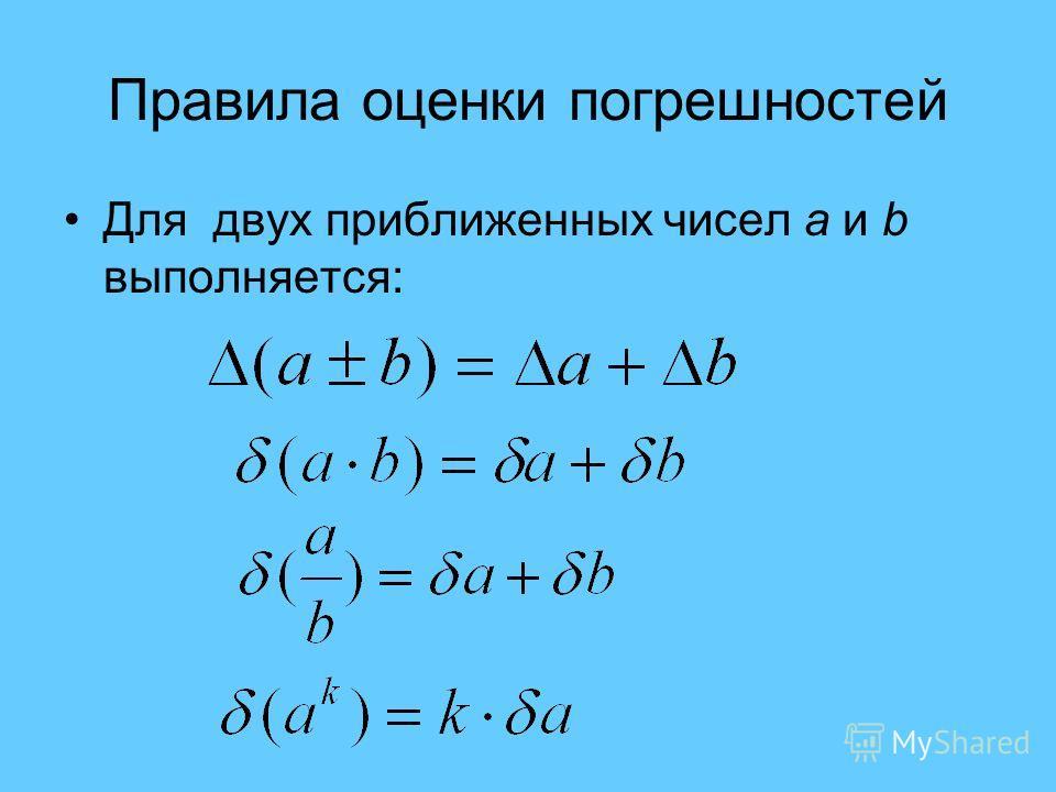 Правила оценки погрешностей Для двух приближенных чисел а и b выполняется: