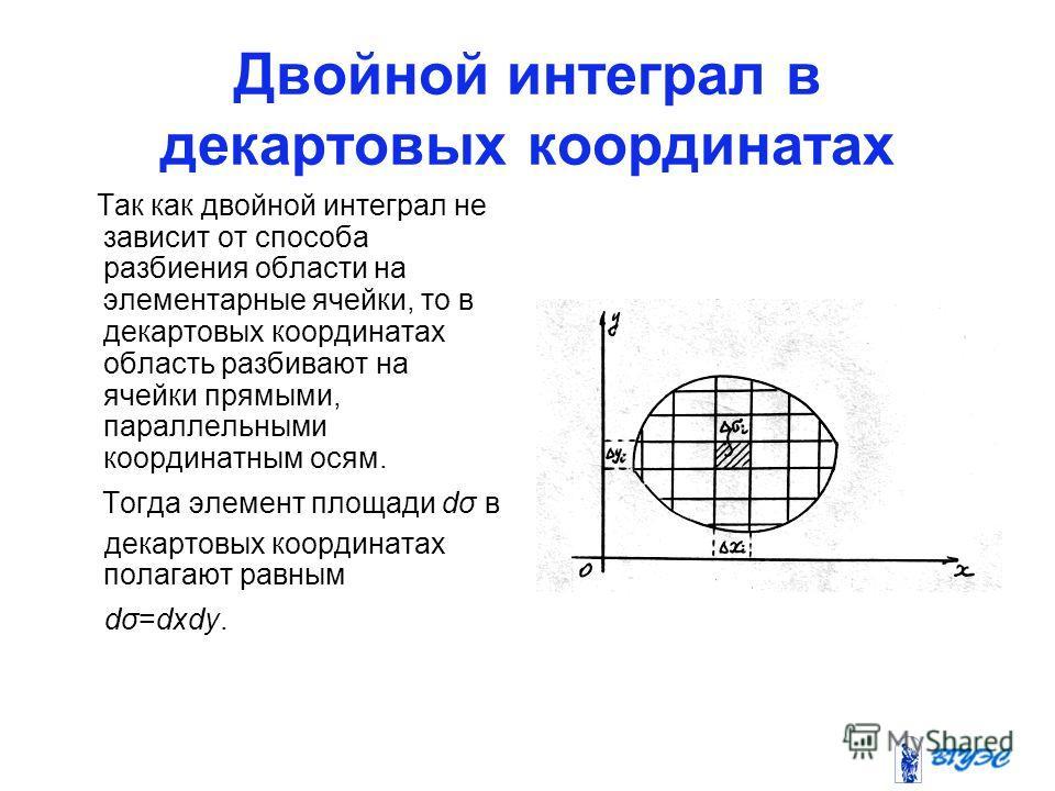Двойной интеграл в декартовых координатах Так как двойной интеграл не зависит от способа разбиения области на элементарные ячейки, то в декартовых координатах область разбивают на ячейки прямыми, параллельными координатным осям. Тогда элемент площади