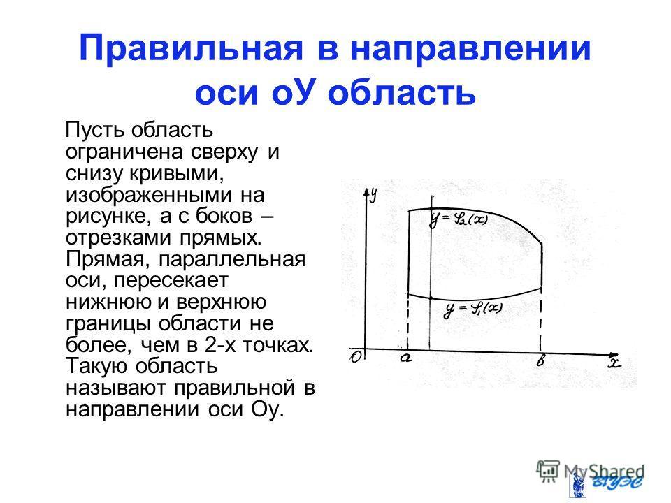 Правильная в направлении оси оУ область Пусть область ограничена сверху и снизу кривыми, изображенными на рисунке, а с боков – отрезками прямых. Прямая, параллельная оси, пересекает нижнюю и верхнюю границы области не более, чем в 2-х точках. Такую о