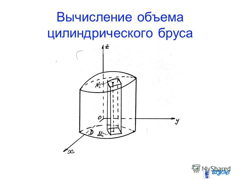 Вычисление объема цилиндрического бруса