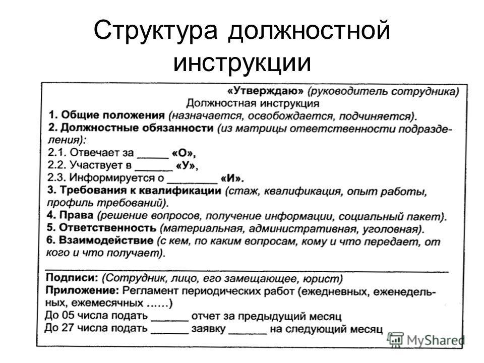 9 Структура должностной инструкции