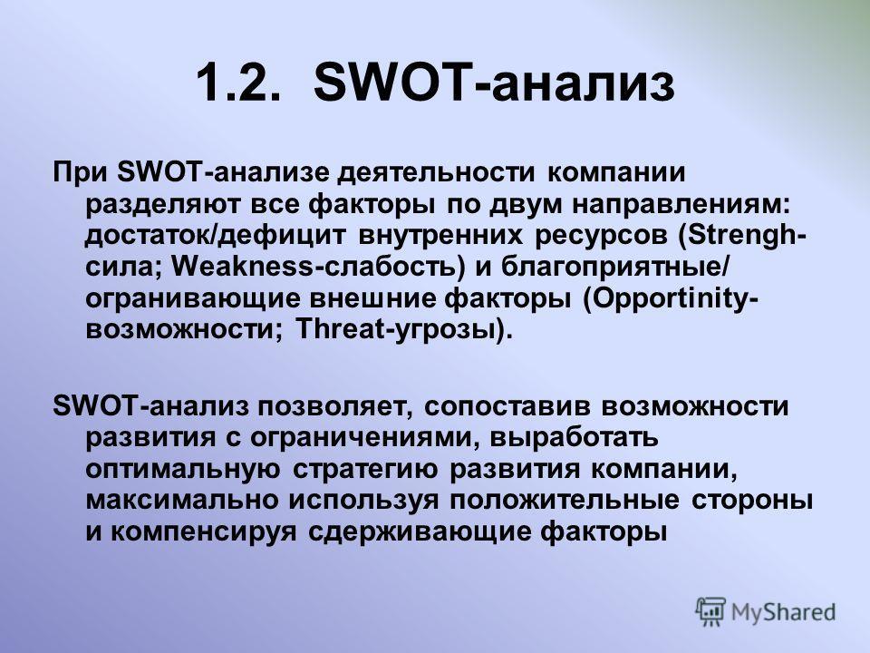 1.2. SWOT-анализ При SWOT-анализе деятельности компании разделяют все факторы по двум направлениям: достаток/дефицит внутренних ресурсов (Strengh- сила; Weakness-слабость) и благоприятные/ огранивающие внешние факторы (Opportinity- возможности; Threa
