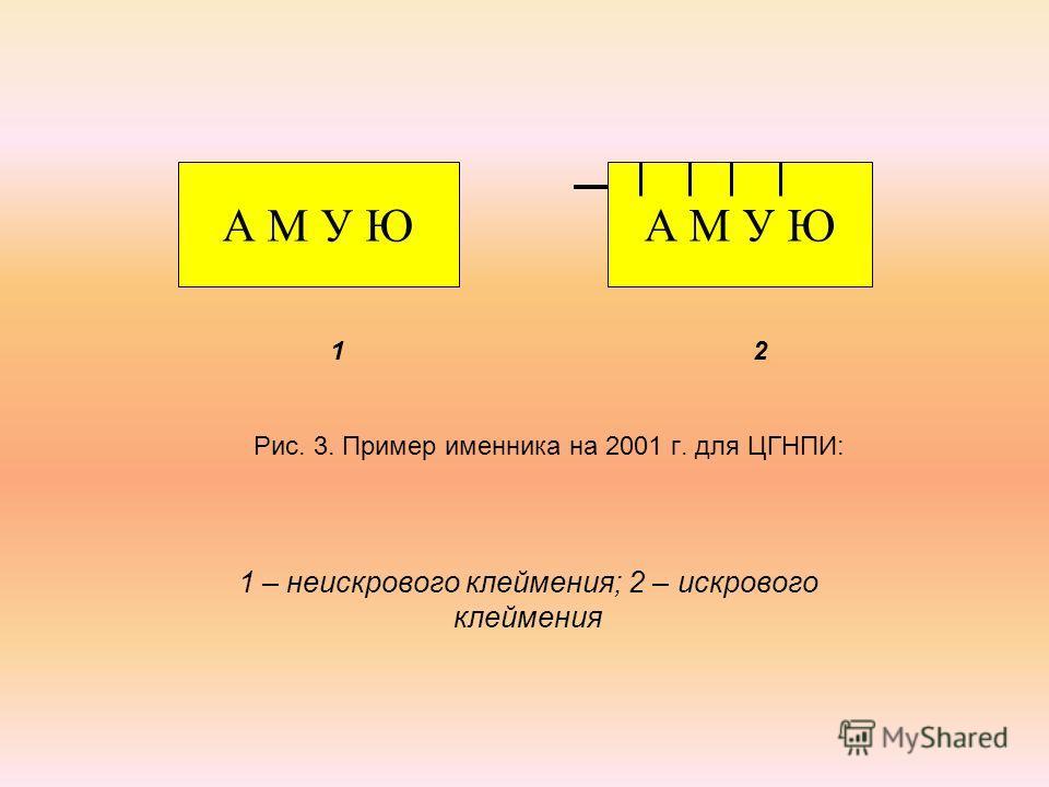 1 2 Рис. 3. Пример именника на 2001 г. для ЦГНПИ: 1 – неискрового клеймения; 2 – искрового клеймения А М У Ю