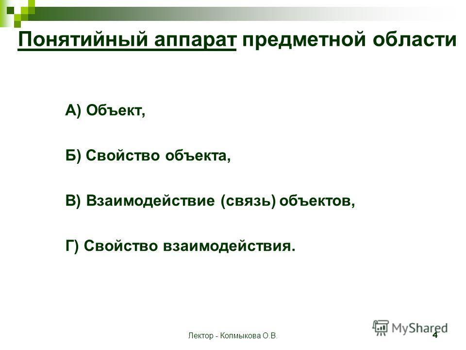 Лектор - Колмыкова О.В. 4 Понятийный аппарат предметной области А) Объект, Б) Свойство объекта, В) Взаимодействие (связь) объектов, Г) Свойство взаимодействия.