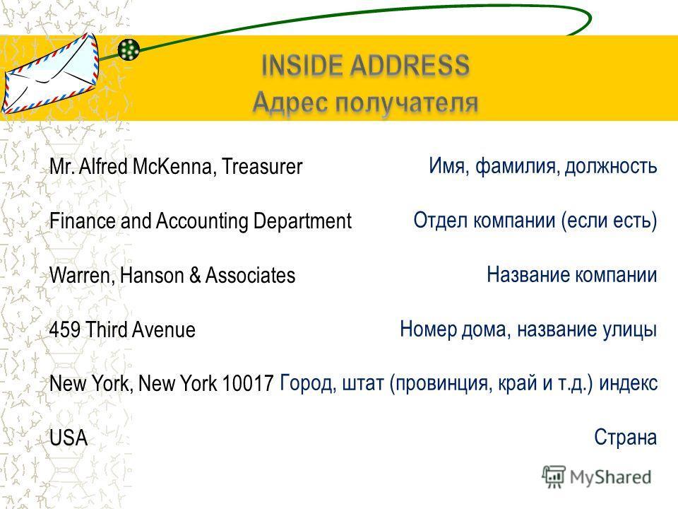 Mr. Alfred McKenna, Treasurer Finance and Accounting Department Warren, Hanson & Associates 459 Third Avenue New York, New York 10017 USA Имя, фамилия, должность Отдел компании (если есть) Название компании Номер дома, название улицы Город, штат (про
