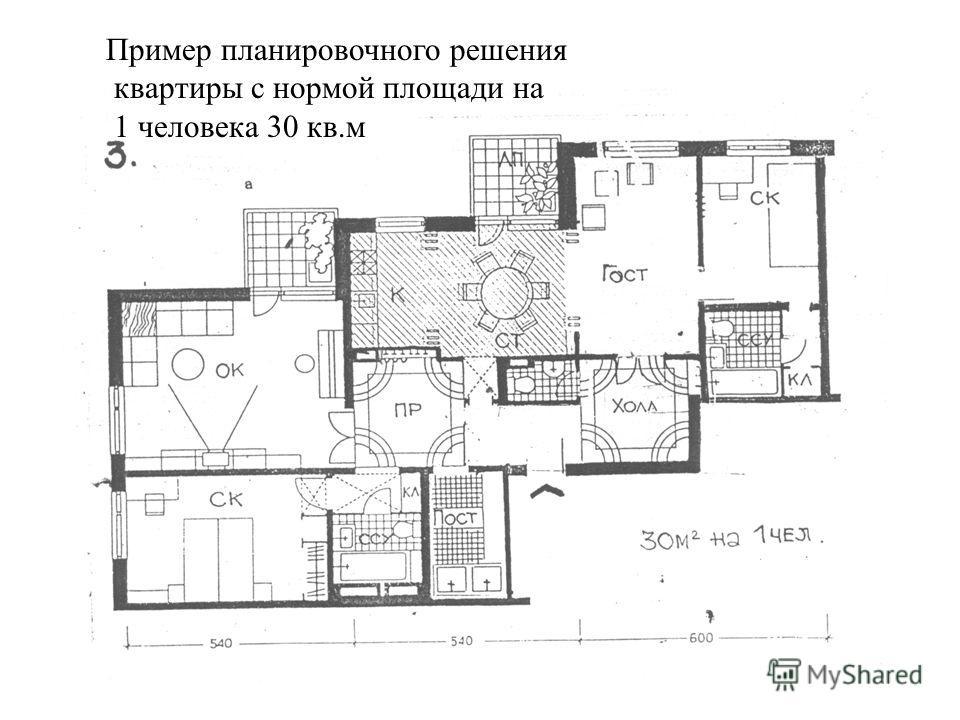 Пример планировочного решения квартиры с нормой площади на 1 человека 30 кв.м