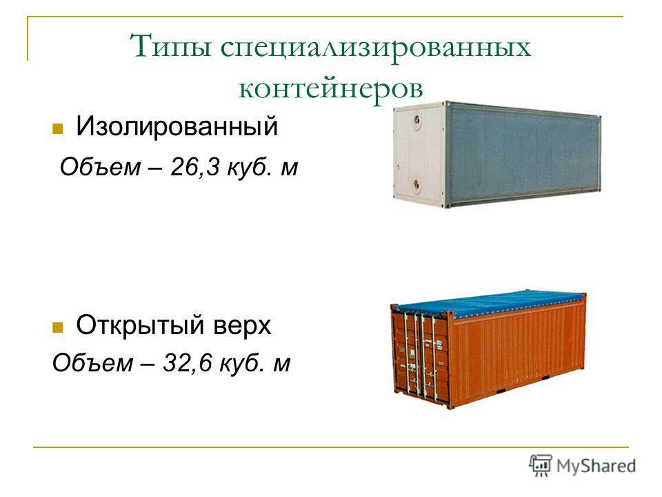 Типы специализированных контейнеров Изолированный Объем – 26,3 куб. м Открытый верх Объем – 32,6 куб. м