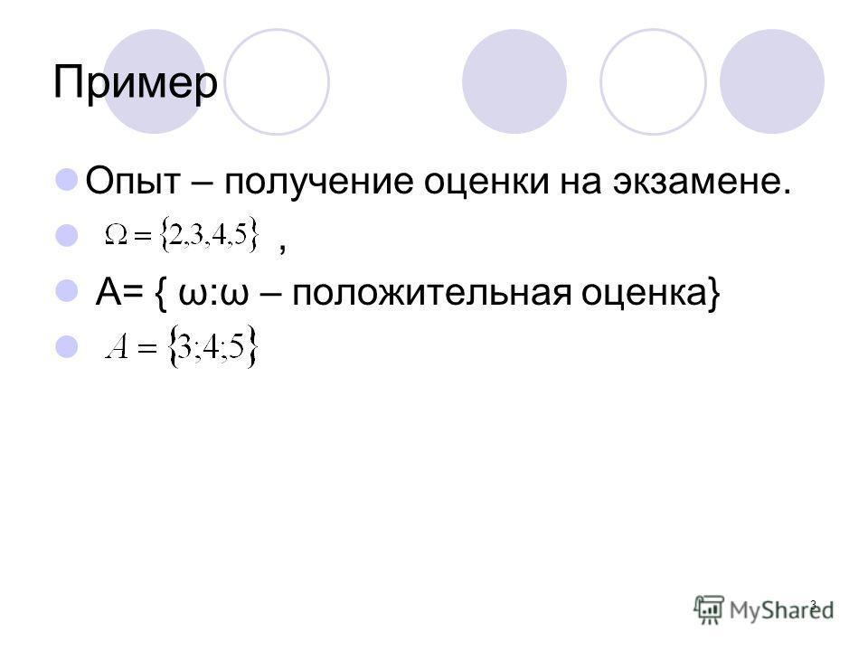 3 Пример Опыт – получение оценки на экзамене., А= { ω:ω – положительная оценка}
