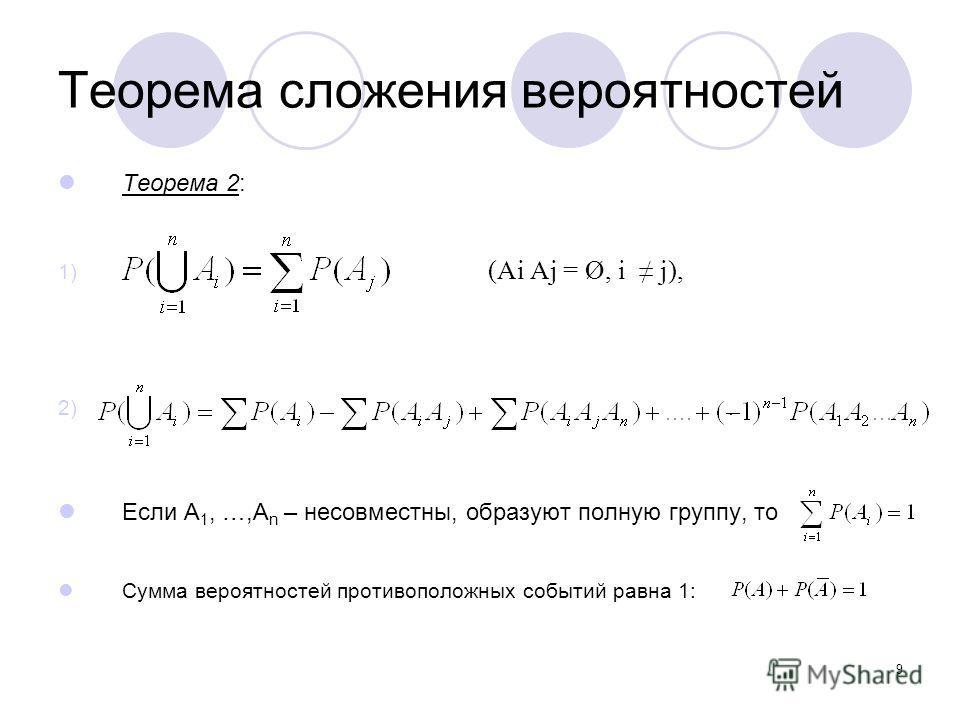 9 Теорема сложения вероятностей Теорема 2: 1) (Ai Aj = Ø, i j), 2). Если A 1, …,A n – несовместны, образуют полную группу, то Сумма вероятностей противоположных событий равна 1: