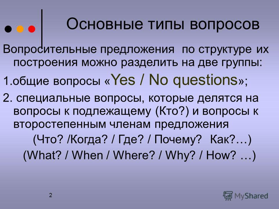 2 Основные типы вопросов Вопросительные предложения по структуре их построения можно разделить на две группы: 1.общие вопросы « Yes / No questions »; 2. специальные вопросы, которые делятся на вопросы к подлежащему (Кто?) и вопросы к второстепенным ч