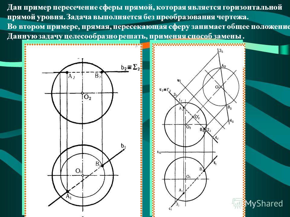 Дан пример пересечение сферы прямой, которая является горизонтальной прямой уровня. Задача выполняется без преобразования чертежа. Во втором примере, прямая, пересекающая сферу занимает общее положение. Данную задачу целесообразно решать, применяя сп