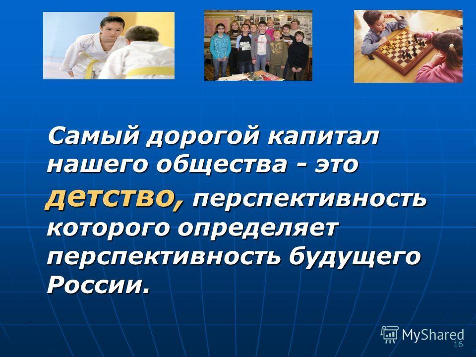 16 Самый дорогой капитал нашего общества - это детство, перспективность которого определяет перспективность будущего России.