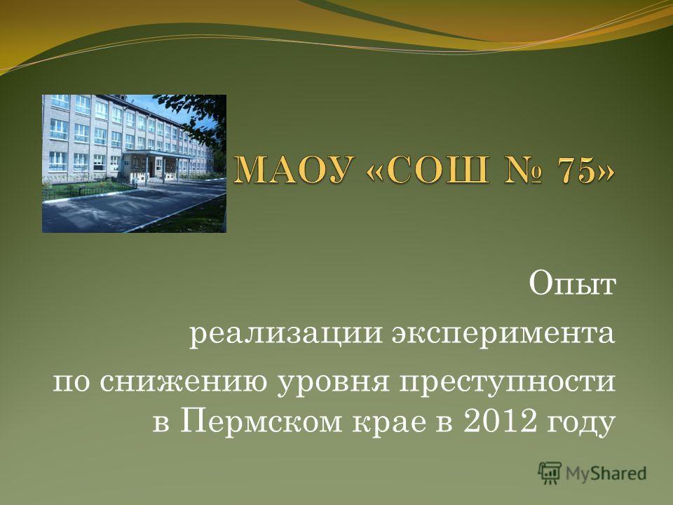 Опыт реализации эксперимента по снижению уровня преступности в Пермском крае в 2012 году