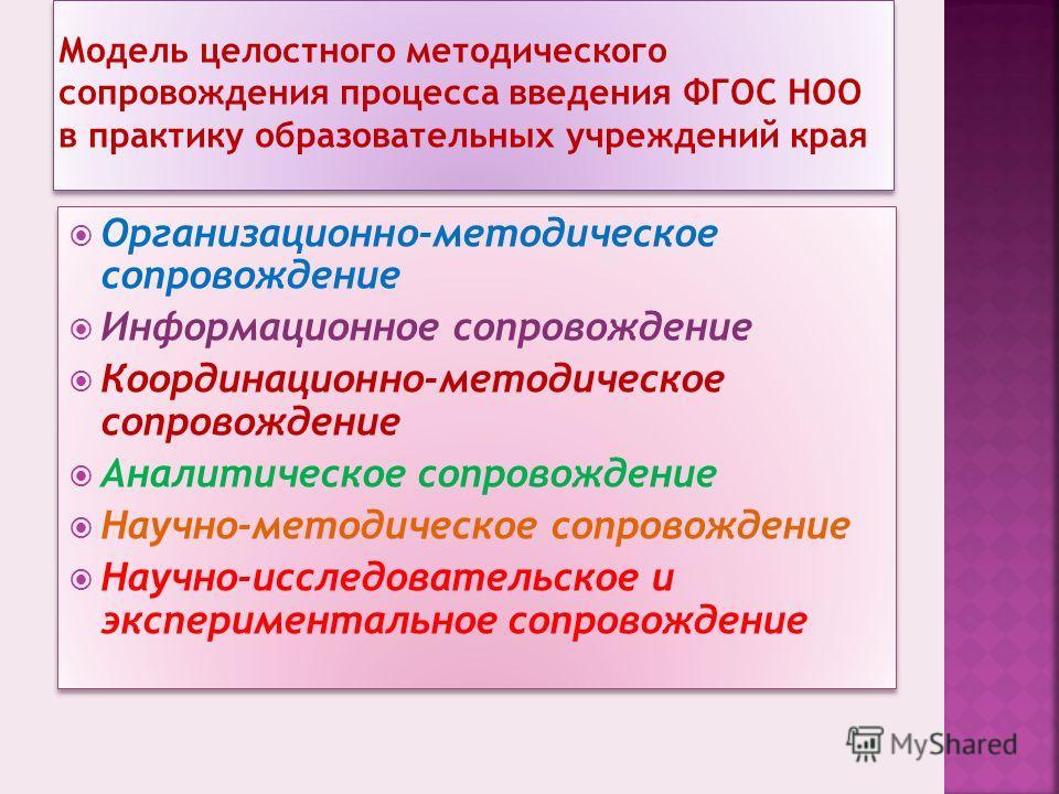 Модель целостного методического сопровождения процесса введения ФГОС НОО в практику образовательных учреждений края Организационно-методическое сопровождение Информационное сопровождение Координационно-методическое сопровождение Аналитическое сопрово