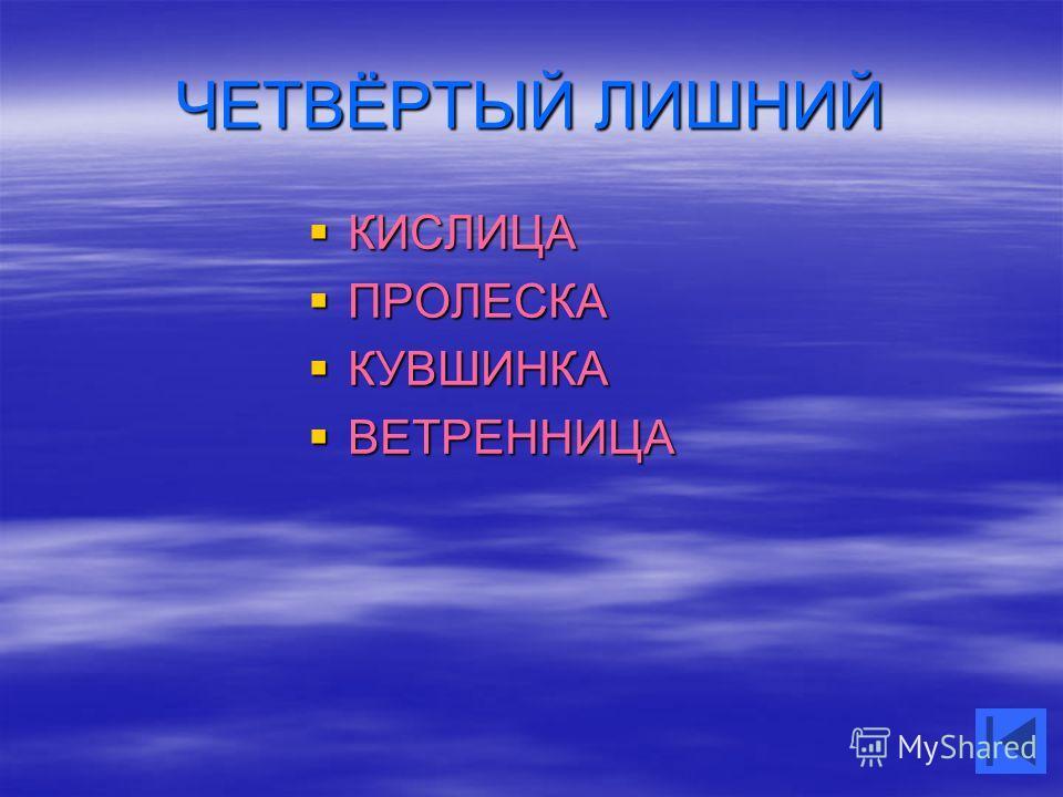 ЧЕТВЁРТЫЙ ЛИШНИЙ КИСЛИЦА КИСЛИЦА ПРОЛЕСКА ПРОЛЕСКА КУВШИНКА КУВШИНКА ВЕТРЕННИЦА ВЕТРЕННИЦА