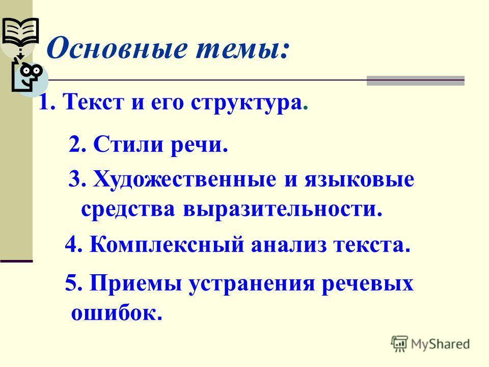 Основные темы: 1. Текст и его структура. 2. Стили речи. 3. Художественные и языковые средства выразительности. 4. Комплексный анализ текста. 5. Приемы устранения речевых ошибок.