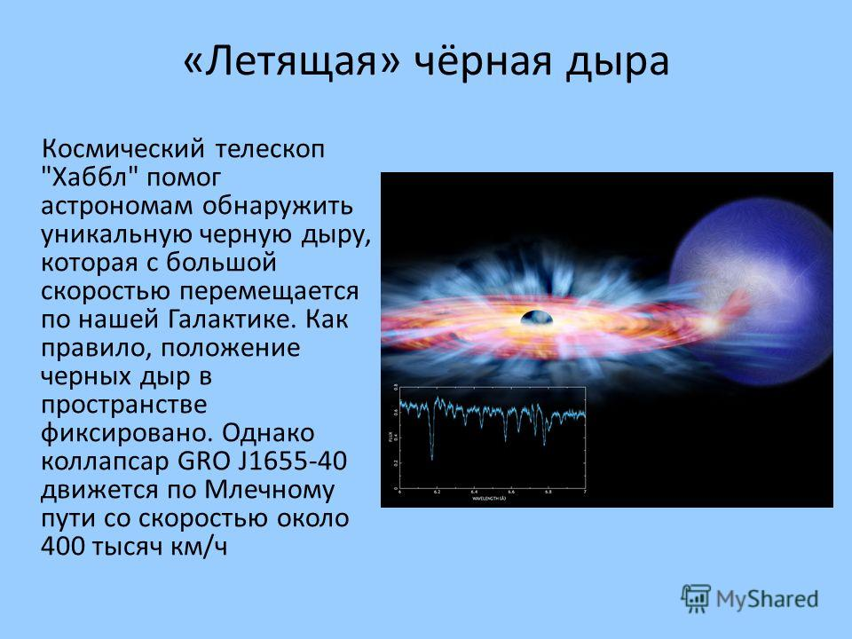 «Летящая» чёрная дыра Космический телескоп